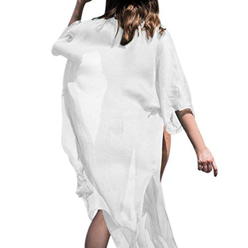 TUDUZ Damen 3/4 Ärmel Kimono Cardigan Boho Chiffon Lose Spitze Schal Top Strand Bikini Cover up Bluse Oversize Beachwear Sommerkleid Shirt Mantel