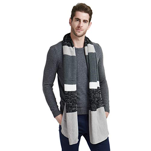 EINSKEY Schal Herren Winter Wolle Strickschal Grau Blau Warm Weicher Business Herrenschals