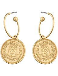a5dd33833803 YUJUEE Aretes para Niña Moda Vintage Simple Moneda De Aleación De Cinc  Cuelgan Aretes Parte Retro