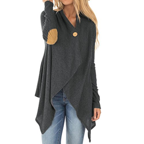 Ladies Open Cardigan CLOOM Kimono Pullover Asymmetric Knitted Coat Solid Color Tops Mantel Fashion Knit Overcoat Strickjacke Wasserfall Langshirt Elegante Windbreaker Outwear (Dunkel Grau, S) (Pants Knit Solid)