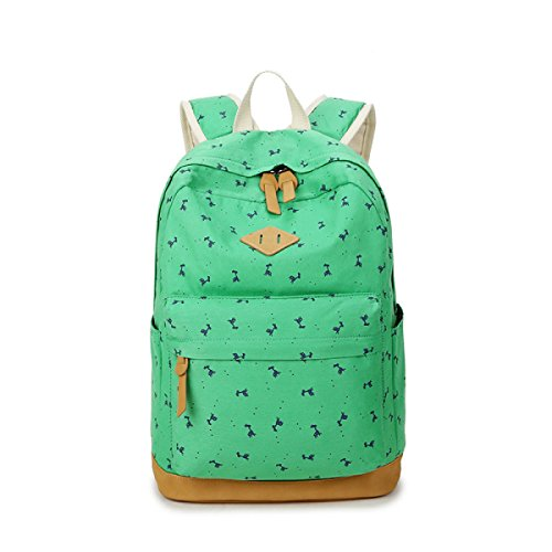 Damen Canvas Rucksack Schultertasche Student Bag Leisure Travel Package Emeraldgreen