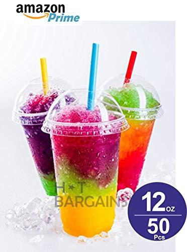 Fizzy Drink-mix (Smoothie Becher mit Kuppeldeckel, transparent, Kunststoff, 340 ml, für Saft, Getränke, Milchshake, Süßigkeiten, Eis und viele mehr, 50 Stück)