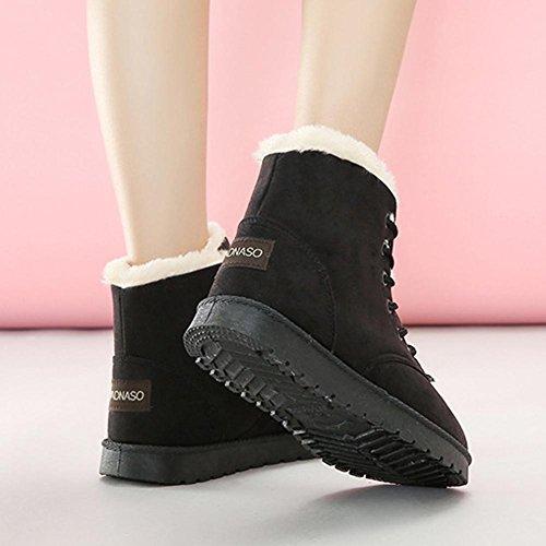 donne caviglia corto balestruccio stivali pelle scamosciato felpa piatto tacco inverno caldo casuale laccio la neve cotone scarpe black