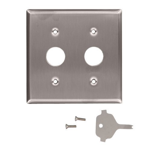 Leviton 84072-40 2-Gang Key Lock Power Switch Device Switch Wallplate, Standard Size, Device Mount, For Use With Corbin Key Lock Switch, Spanner Screws and Tool, Stainless Steel by Leviton