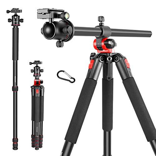 Neewer 2-in-1 Stativ mit 360Grad drehbarer Mittelsäule und Kugelkopf Schnellwechsel Platte 184cm Aluminium 4 teilige Stative Beine für DSLR Kameras Video Camcorder bis zu 15kg -