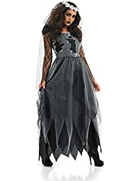 LaLaAreal Disfraz De Novia Cadaver Mujer Cosplay Novia Zombie Fantasma Halloween Carnaval