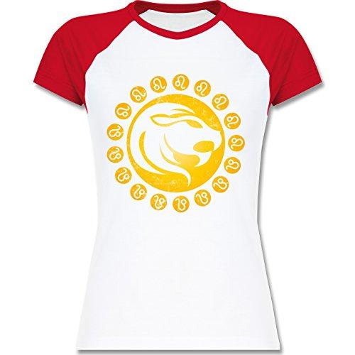 Shirtracer Symbole - Tierkreiszeichen Löwe - Zweifarbiges Baseballshirt/Raglan T-Shirt für Damen Weiß/Rot