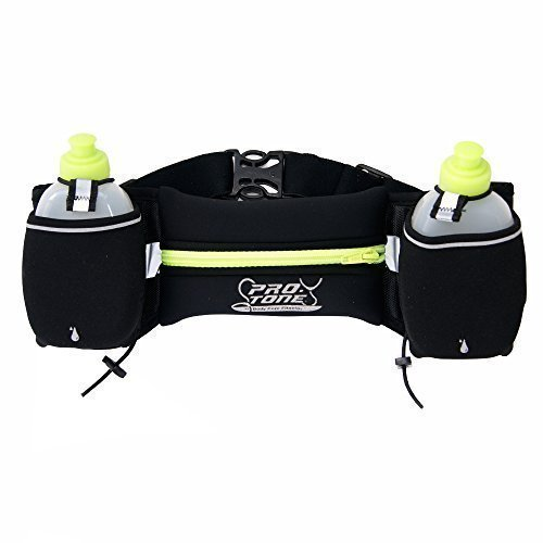 Protone hydration belt and water bottles / storage pocket for running / exercise / fitness / marathon / training waist pack made with waterproof neoprene
