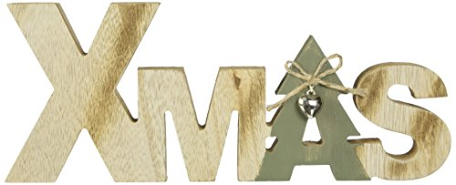 Heitmann Deco Schriftzug XMAS aus Holz - braun/grün - Aufsteller - mit Glöckchen - Weihnachtsdekoration - Tischdeko (Akzent Eingangsbereich)
