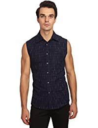 Reevolution Men's Self Design Indigo Cotton Shirt (MCSS310341)