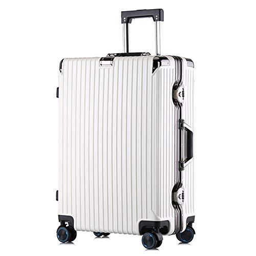 Bagaglio trolley da viaggio rigido ABS/PC a 4 ruote leggero da 20 pollici, bagaglio di grande capacità da 24 pollici, 4KG (64CM, 60L)-White-[24'']-42 * 25 * 64CM