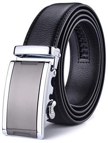 Xhtang-Ledergürtel Herren Automatik Gürtel mit Automatikschließe-3,5cm Breite L - Schwarz - Länge 140cm (Geeignet für 44-49 taille)