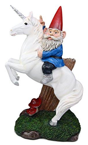 Atlantic Station (Ebros Gift Atlantic Sammlerstücke Fliegenpilz GNOME Riding Einhorn Statue 35,6cm Hoch Skurril Reise Alexander der Große mit Bukephalos Pose Skulptur)