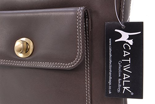 "Sac Besace en cuir ""Laura"" signé Catwalk Collection Marron"