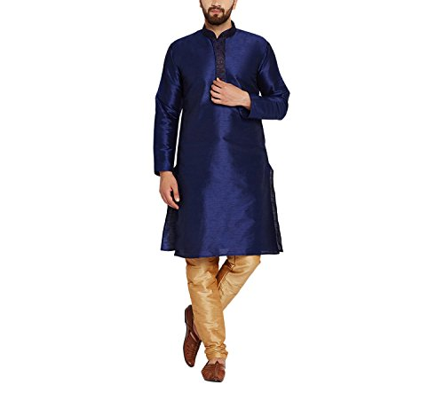 Sojanya Men's Dupion Silk Kurta Churidaar With Self Brocade Design In Front Medium Royal Blue And Gold (Kurta Brocade)