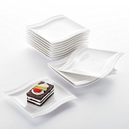 Malacasa Série Flora 12pcs Petit Assiette à Dessert Céramique Assiette Plate Service de Table Porcelaine Vaisselles 5.5\\