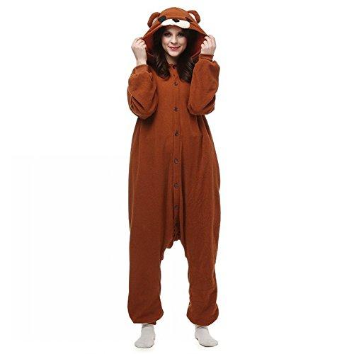 dressfan Unisex Adult Animal Pyjamas Braun Bär Cosplay Kostüm (Rilakkuma Kostüm)
