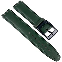 Minott Replacement Band Watch Band Leather Strap green 17mm fits for Swatch watches