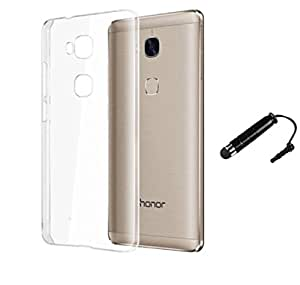 TCA Premium Transparent Crystal Clear White Jelly Soft Flexible Ultra Thin Silicon Back Case Cover For Huawei Honor 5X - Transparent + Mini Stylus