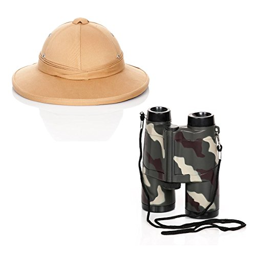 Kostümplanet Safari Helm und Fernglas Forscher Kostüm Zubehörset