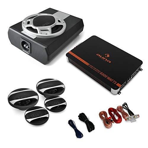 auna 4.1 Auto Lautsprecher-Set - Komplett HiFi Set, Black Line 560, 5000 Watt Verstärker, Endstufe, Auto Lautsprecher, 600 Watt Subwoofer, inkl. Kabelset, schwarz