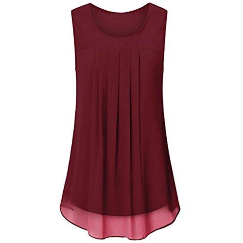 OverDose Damen Sommer Ärmellos O-Ausschnitt Casual Chiffon Solide Weste Bluse Tank Tops Camis Frauen T Shirt Tees (Rot,EU-46/CN-L)