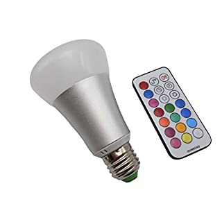 YXH 10W RGBW Led Bulb E27 Dimmable Ac220v with IR Remote Control Colour Changing Ambient Light