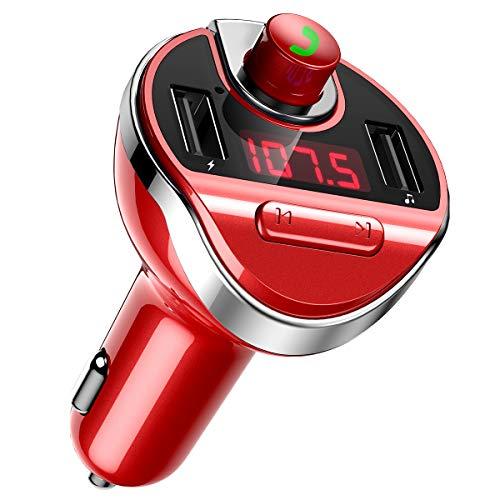 Criacr FM Transmitter Auto Bluetooth, Bluetooth FM Transmitter mit 2 USB Ladegerät, FM Transmitter Radio Adapter mit Freisprecheinrichtung, Bluetooth Transmitter MP3-Player unterstützt USB/TF-Karte -