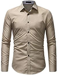 BUSIM Men's Long Sleeve Shirt Autumn Casual Formal Slim Fashion Solid Color Button Down Lapel T-Shirt Top Loose...