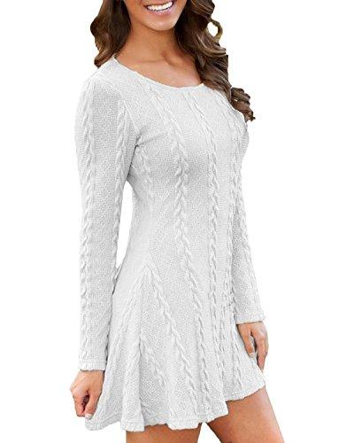 ZANZEA Femme Sweater Tricot Lâce Manche longue Haut Pull Mini-robe Cardigan Sweats Blanc 519978