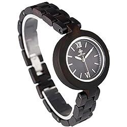 Forepin® Japanische Quarz-Uhrwerk Sandelholz Armbanduhr Uhren mit Analog Kalender Display Damen Standard (Zifferblatt Durchmesser: 38 mm) - Stil 3