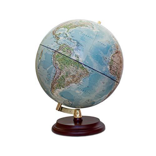 Magellan Vasa Globus mit politischem Kartenbild oder handkaschiert, freistehend ohne Meridian Durchmesser 32 cm, Globus mit rotbraunem Holzfuß Maßstab 1:40.000.000 handkaschiert 32 cm