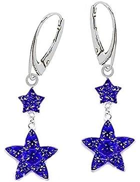 GH1a Royalblau Kristall Sterne Brisur Ohrringe 925 Echt Silber Mädchen Damen Ohrhänger