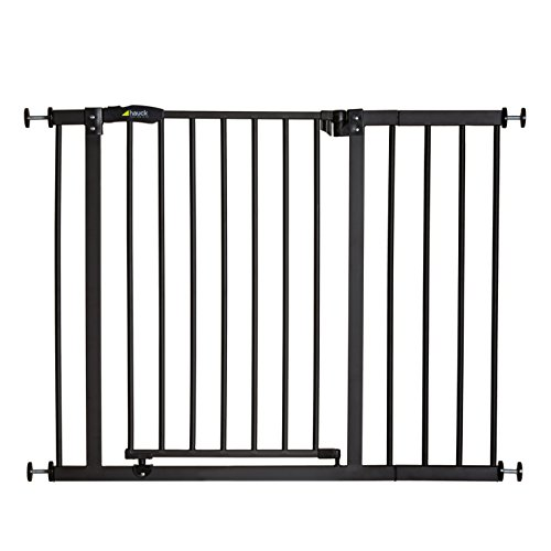 Hauck Close N Stop - Puerta de seguridad con extensión de 21 cm, para puertas y escaleras 96 - 101 cm, sin agujeros, combinable con Y-Spindel para barandillas, hierro, charcoal (gris)