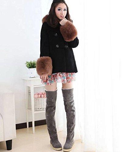 Minetom Donna Autunno Inverno Caldo Stivali Da Neve Moda Sopra Il Ginocchio Stivali Lunghi Platform Scarpe Grigio