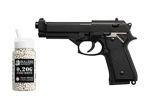 Preisvergleich Produktbild HFC Softair Federdruck Pistole M9 Stil,  0.5 Joules,  Gratis Bulldog Airsoft 2000 0.20g Bbs,  HA118