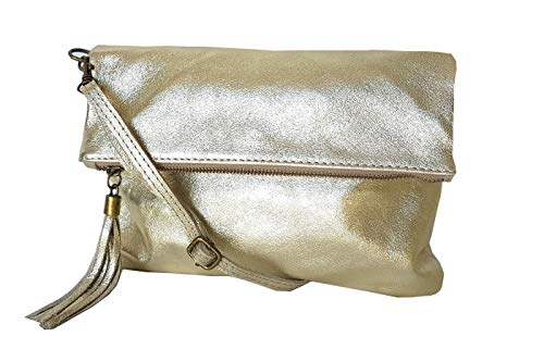 zarolo Damen Umhängetasche,Tasche klein, Schultertasche, Cross Body, Leder Clutch echtes Leder, Handtasche Italienische Handarbeit M20590