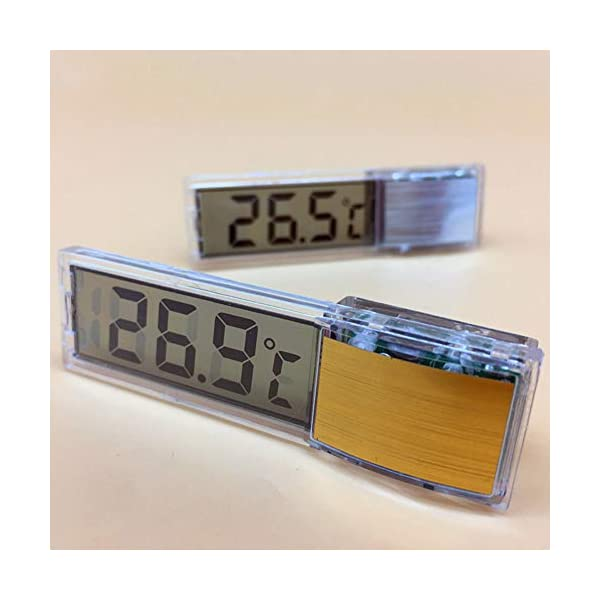 RUST Weihpe Multi-Functional LCD 3D Digital Electronic Temperature Measurement Fish Tank Temp Meter Aquarium Thermometer Temperature Control(Gold)