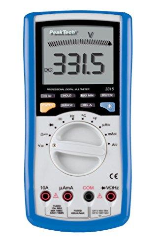 Preisvergleich Produktbild PeakTech Profi Digital Multimeter - 3999 stellig mit RS232 Schnittstelle und PC-Software - CAT IV 600V - Voltmeter / Amperemeter, 1 Stück, P 3315 USB