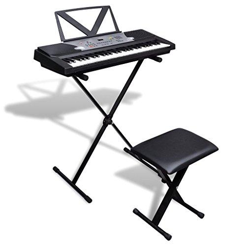VIDAXL PIANO ELECTRICO DE 54 TECLAS CON ATRIL  SOPORTE AJUSTABLE Y TABURETE
