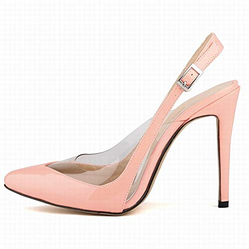 Top Shishang Frauen Spitzschuh Slingback Ankle Tie High Heel Slip auf sexy Party Hochzeit, Pulver Patent, 37 Patent Slingback High Heel