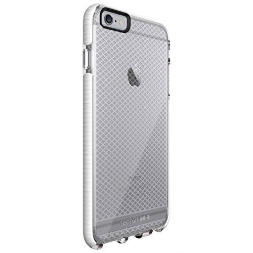 Tech21 Evo Check-Schutzhülle für iPhone 6 Plus/6S Plus, stoßfest, mit FlexShock-Technologie und Gitter-Muster, Transparent / Weiß