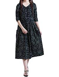 33a10ad11a0f1e NPRADLA 2018 Herbst Winter Damen Kleid Plus Größe Folk-Custom lose Lange  Ärmel Druck Baumwolle