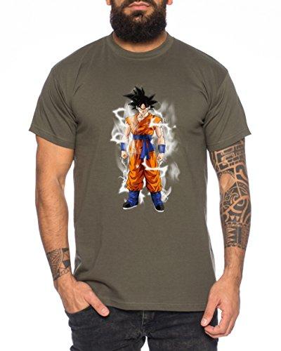 Goku Blitz Nerd Herren T-Shirt in verschiedenen Farben Khaki