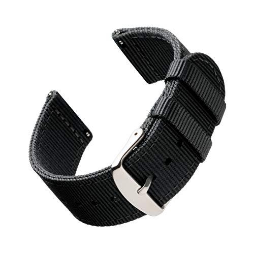 Archer Watch Straps | Repuesto de Correa de Reloj de Nailon para Hombre y Mujer, Correa Fácil de Abrochar para Relojes y Smartwatch | Negro, 20mm
