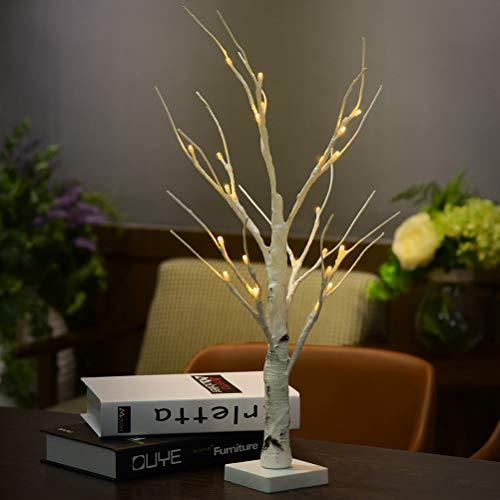 Uonlytech 2 Stücke 24 LED Birke Lampe Einzigartige Indoor Tischleuchte Dekorative Schreibtisch Nachtlicht für Home Party Hochzeit Urlaub-Ohne Batterien (Warmweiß) - Büro-schreibtisch, Birke
