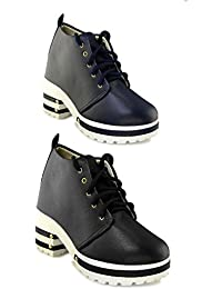 TEQTO Women's Black And Blue Pack Of 2 Ankle Boots {Combo-11}