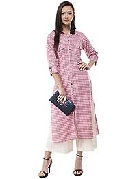 AnjuShree Choice Women Stitched Pink Printed Cotton Kurti (Summer Collection)