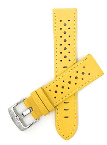 Leder Uhrenarmband 24mm für Herren, Gelb, perforiert, Stil GT Rally, Schließe Edelstahl, auch verfügbar in schwarz, weiß, rot, orange, königsblau, braun und rosa