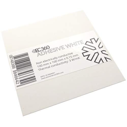 EC360® Adhesive White Beidseitig Selbstklebende Wärmeleitfolie 3W/mK Wärmeleitfähige Thermal Klebefolie z.B. für Kühler (100 x 100 mm)